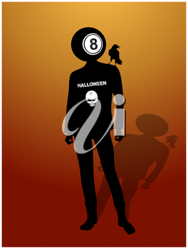 Black And White Silhouette Of Man With Halloween Decorated T-Shirt With Skull And Text Ball Number Eight As Head Crow Bird On His Shoulder And Shadow Over Red And Yellow Textured Background