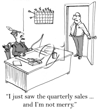 Royalty Free Clipart Image of an Unhappy Boss at The End of Quarterly