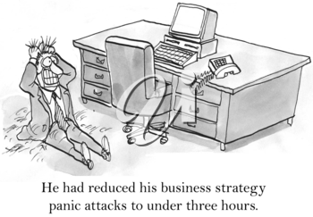 Royalty Free Clipart Image of a Businessman Having a Panic attack Behind His Desk