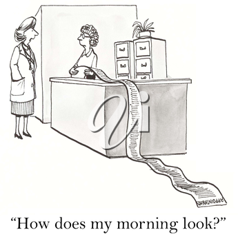 Royalty Free Clipart Image of an Employer Asking Her Secretary What Appointments She Has Today