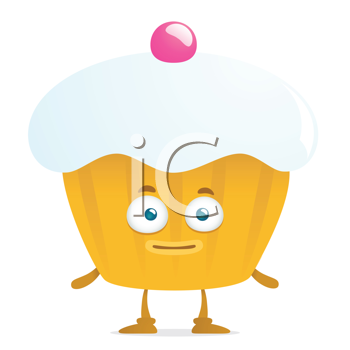 Royalty Free Clipart Image of a Cupcake With a Face