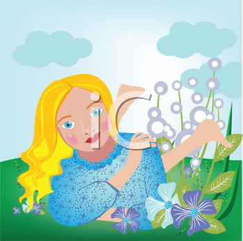 Royalty Free Clipart Image of a Girl Lying on the Grass