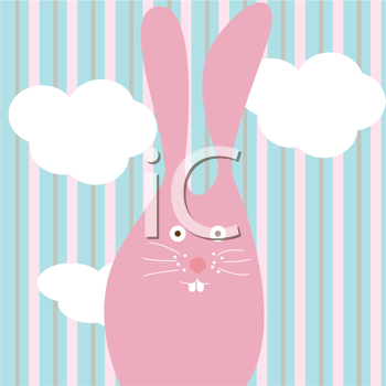 Royalty Free Clipart Image of a Pink Bunny