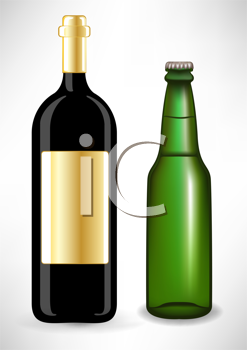 Royalty Free Clipart Image of a Wine Bottle and Beer Bottle