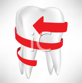 tooth with red arrow isolated