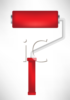 simple red paint roller tool isolated
