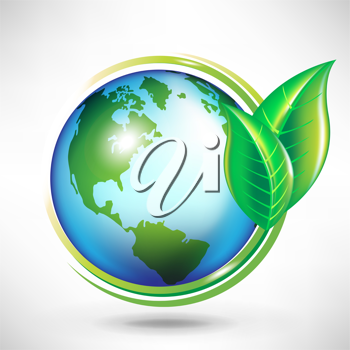 green earth globe concept with leafs