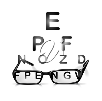 glasses and eyes test isolated on white