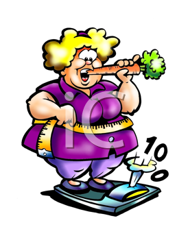 Royalty Free Clipart Image of an Overweight Woman Eating a Carrot While Standing on the Scales