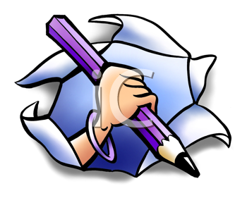 Royalty Free Clipart Image of a Hand With a Pencil Through Torn Paper