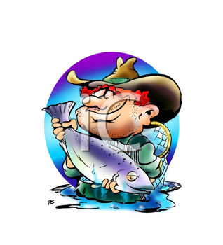 Royalty Free Clipart Image of an Angler With a Big Fishq