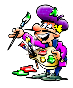 Royalty Free Clipart Image of an Artist With His Palette