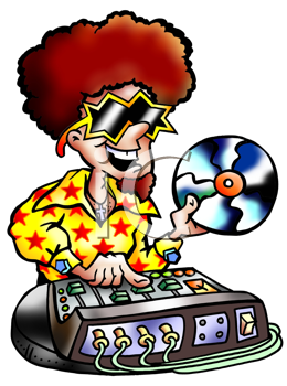 Royalty Free Clipart Image of a DJ Holding a Record