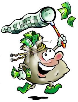 Royalty Free Clipart Image of a Money Bag Chasing Money