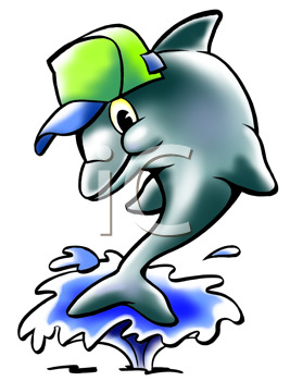Royalty Free Clipart Image of a Dolphin Jumping Out of Water