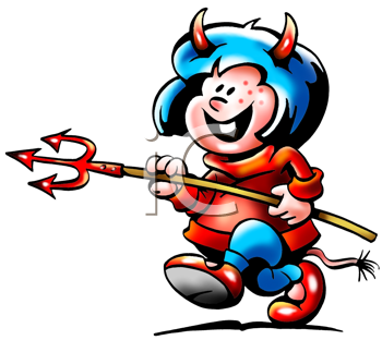 Royalty Free Clipart Image of a Girl With a Pitchfork