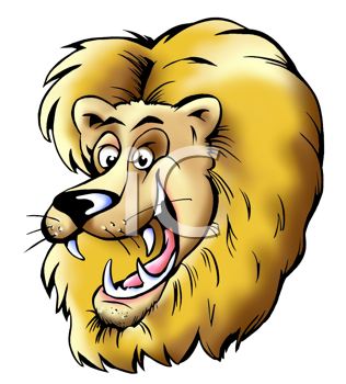 Royalty Free Clipart Image of a Lion's Head