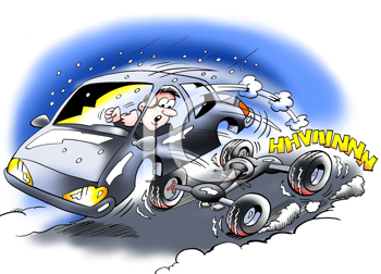 Royalty Free Clipart Image of a Car With Defective Breaks