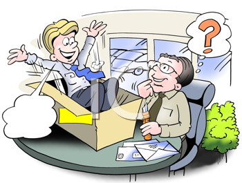 Royalty Free Clipart Image of a Man Jumping Out of a Box on Another Man's Desk
