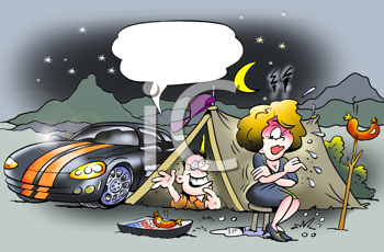 Royalty Free Clipart Image of a Camping Trip