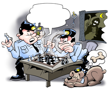 Royalty Free Clipart Image of Cops Playing Chess With a Thief at the Window