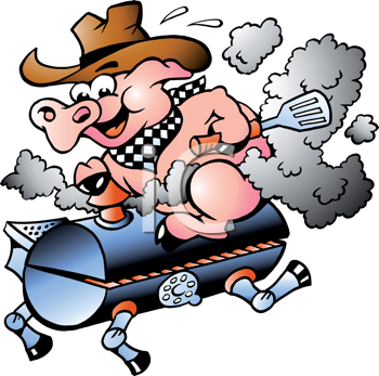 Hand-drawn Vector illustration of an Pig riding on a BBQ barrel