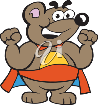 Vector illustration of an Happy Strong Super Hero Bear