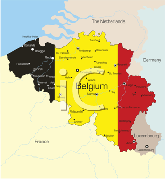 Royalty Free Clipart Image of a Map of Belgium With the Flag on It