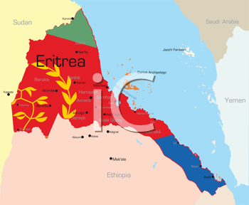 Royalty Free Clipart Image of a Map of Eritrea With the Flag Colouring
