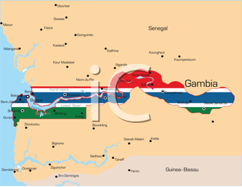 Royalty Free Clipart Image of a Map of Gambia Coloured With the Flag