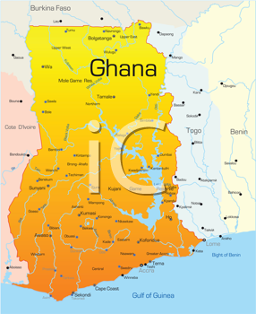Royalty Free Clipart Image of a Map of Ghana