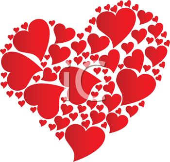 Royalty Free Clipart Image of a Heart of Hearts