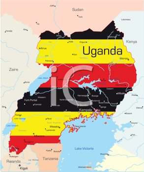 Royalty Free Clipart Image of a Map of Uganda