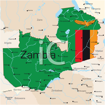 Royalty Free Clipart Image of a Map of Zambia Coloured By the Flag