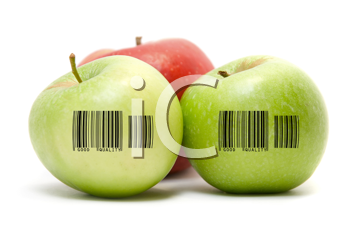 Royalty Free Photo of Apples With Barcodes