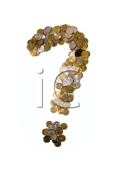 Coins as question mark on white