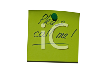 Sticky post it note with Please call me wording