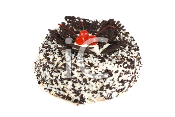 chocolate cake with berry isolated on a white