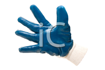 Blue work industrial glove on white background