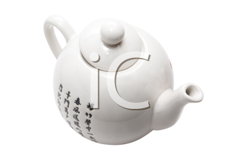 Teapot in asian style with hieroglyphics. Isolated on white.