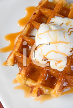 Royalty Free Photo of a Waffle With Ice Cream