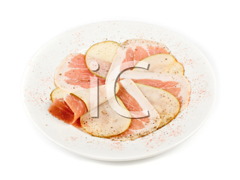 Royalty Free Photo of Sliced Bacon and Pears