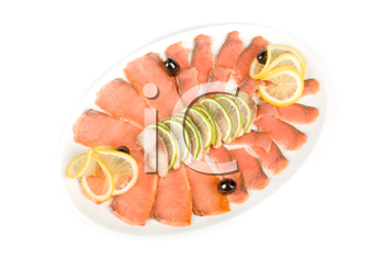 Royalty Free Photo of Salmon and Mackerel With Limes, Lemons and Olives