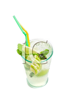Fresh mojito cocktail isolated on a white bacground