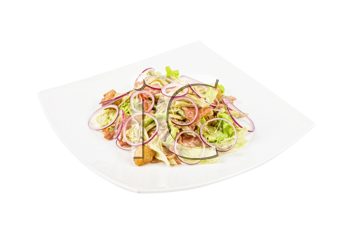 Onion salad of meat with roast vegetables