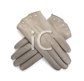 Grey modern female leather gloves isolated on a white