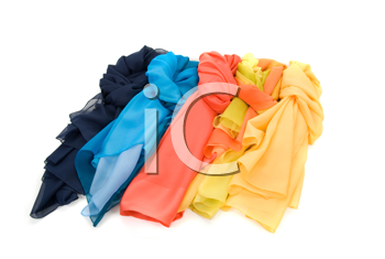 color shawls isolated on a white background