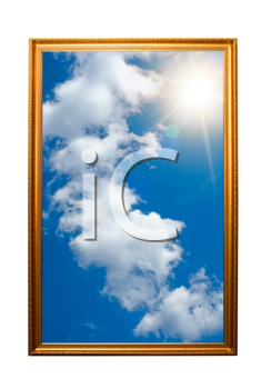 A picture of a wooden picture frame with the sky isolated on white