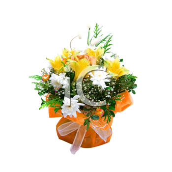 wedding bunch of flowers isolated on a white