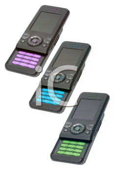 Three different color cell phones on white background